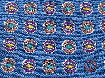 Designer Tie Dunhill Mutli Color Hexagons On Blue Silk Men Necktie 42