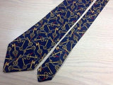 SILK CLUB Silk Tie - Navy with Gold Skeleton Key Pattern 37