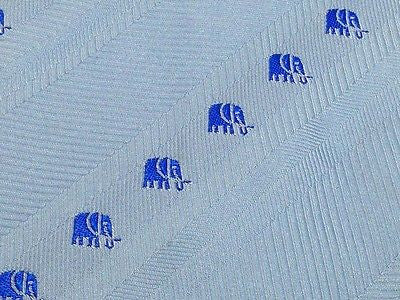 Animal Tie Pasini Embroidered Blue Elephant on Light Blue Silk Men Necktie 28