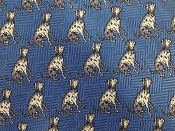 Animal Print TIE DOG DALMATIAN REPEAT BLUE Silk Men Necktie 26