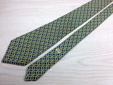 Designer Tie Celine Yellow Pattern On Multi Color Check Silk Men Necktie 43