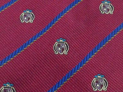 STEFANI Italian Silk Tie - Dark Red with Small Coat of Arms Pattern - Classic 33