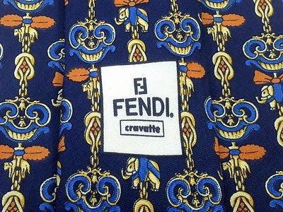 Novelty Tie Fendi Animal Jewellery Pattern on Blue Silk Men Necktie 45