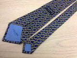 Pattern Tie Celine Light Brown Chain on Blue Silk Men NeckTie 44