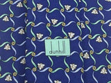 DUNHILL Silk Tie - Blue with Gold & Green Ribbons Pattern 40
