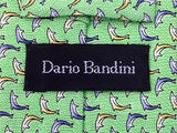 Dario Bandini TIE Dolphin on Green Animal Novelty Theme Repeat Silk Necktie 3