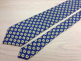 Designer Tie Van Laack Yellow Classic Design on Blue Silk Men NeckTie 49