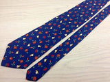 Animal Tie Manfred Snails with Flowers On Dark Blue Silk Men Necktie 29