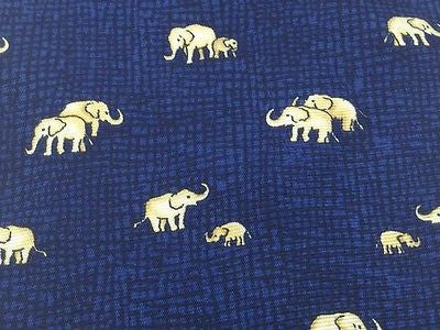 BEAUFORT Italian Silk tie - Navy with Pale Yellow Elephant Families 40