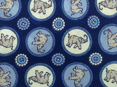 Animal Print TIE ELEPHANT POLKA DOT LIGHT BLUE Silk Men Necktie 26