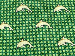 TOKYO Silk Tie - Hand Made - Green with Gold Dolphins Pattern 41
