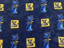 Animal Tie Marco Laurenti Cats And Mice On Dark Blue Silk Men Necktie 29