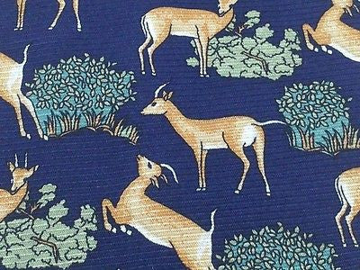 MARIO VALENTE Italian Silk tie - Navy with Flora and Fauna Patten 40