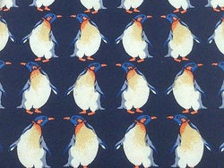 Animal Tie Beaufort Perpetual Penguins on Deep Blue Silk Men Necktie 48