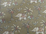 JIM THOMPSON Silk Tie - Elegant Tan and Copper Asian Elephant Pattern 40