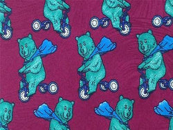 Bear on 3 Whee Bike TIE Animal Novelty Theme Repeat Silk Necktie 3
