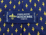 Novelty TIE Philippe Vendome Cactus on Blue FRANCE Silk Men Necktie 23