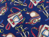 Designer Tie Longchamp Satchel Equestrian on Blue Silk Men NeckTie 44