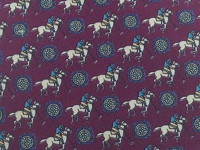 Italian Silk Tie - Dark Maroon with Polo Theme 40