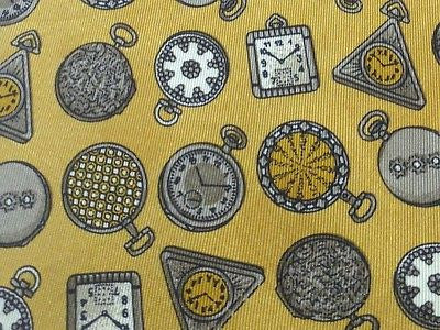 GIANFRANCO LOTTI Italian Silk Tie - Dark Yellow with Timepiece Theme 39