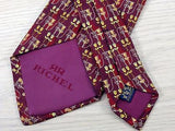Floral TIE Tulip on Purple Repeat by RICHEL Made in Italy Silk Necktie 6