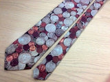 "RALPH MARLIN & CO. Polyester Tie - ""COINS"" Pattern in Silver & Copper 36"