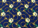 Novelty Tie Lancel Yellow Flowers On Dark Blue Silk Men Necktie 42