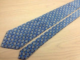 Novelty Tie Lanvin Blue Flowery Boxed Pattern on Blue Silk Men Necktie 45