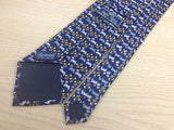 SARTORIOLE Italian Silk Tie - Navy with Shaggy Dog Design 38