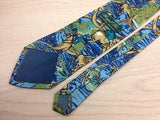 Novelty Tie Royal Tie Horsemen And Dogs On Blue Silk Men Necktie 43