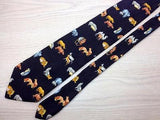 Animal Print TIE Monkey Lion Penguin Fox Walrus BLACK  Silk Men Necktie 21