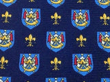 ITALIAN Silk Tie - Navy with Red, White & Gold Coat of Arms Design 33