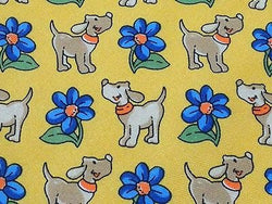 PIERRE LORRAIN Italian Silk Tie - Yellow with Dogs & Daisies 37