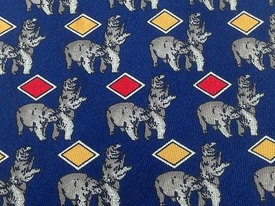 Animal Tie Caesar Bears with Red & Yellow Diamonds on Blue Silk Men Necktie 32
