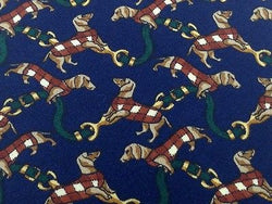 Animal Tie Aldo Ricci Dogs On Dark Blue Silk Men Necktie 31