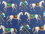 Animal Tie JS.A Bank Couple Of Steeds On Blue Silk Men Necktie 31