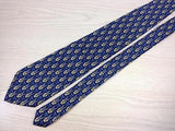 Geometric TIE Ornamental on Blue by CECCONE Made in Italy Silk Necktie 5