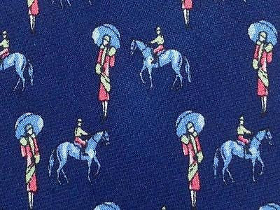 Animal Print TIE  Lady Under the Rain Gentlemen on Horse  Silk Men Necktie 25