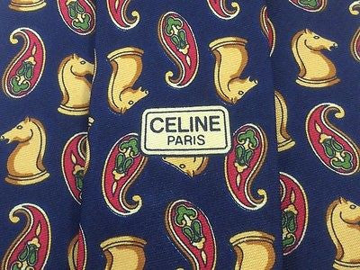 Novelty Tie Celine Chess Knight on Blue Silk Men Necktie 48