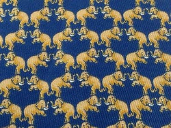 Animal Tie Jim Thompson Dancing Elephant on Denim Blue Silk Men Necktie 47