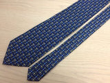 JEAN-LOUIS SCHERRER Paris Silk Tie Blue with Gold Pedestal Pattern Classic 33