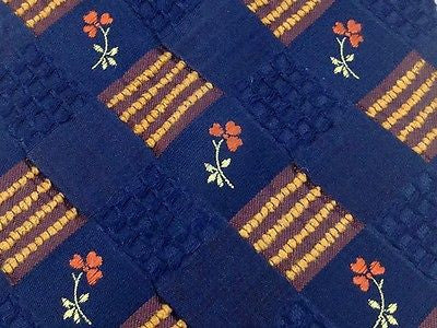 UNGARO Paris Silk Tie - Navy with Rust & Gold Pattern 37