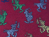 Clown Embroidered on Red Silk Men Necktie 28