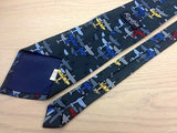Novelty Tie Rudia Colored Planes on Dark Grey Silk Men NeckTie 49