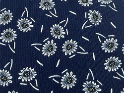 Novelty Tie Palais De Doges Grey Flowers On Dark Blue Silk Men Necktie 29
