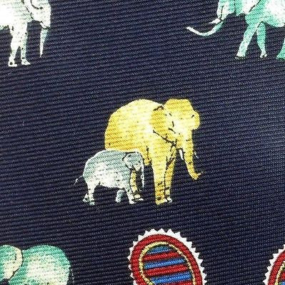 ELEPHANT PAISLEY TIE ANIMAL REPEAT 100% SILK MEN NECKTIE