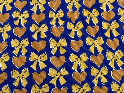YVES SAINT LAURENT Italian Silk Tie - Navy with Gold Heart and Bows Pattern 41