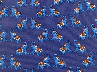 FIRENZE Italian Silk Tie - Royal Blue with Dancing Elephants Pattern 40
