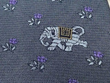 Animal Tie Hubert Elephant & Flower on Grey Silk Men NeckTie 30