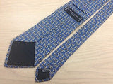 CHARLES JOURDAN Paris Silk Tie - Handmade - Blue with Gold Stirrups Pattern 40